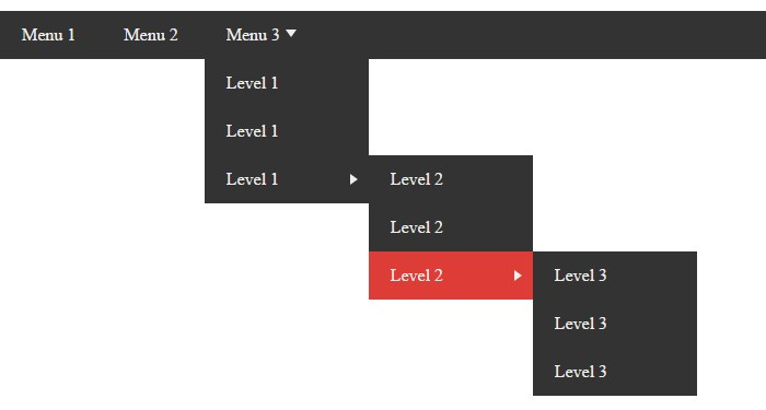 3 level dropdown menu
