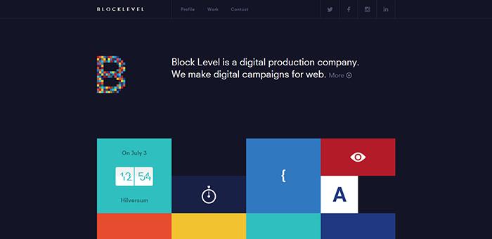 Blocklevel web flat design style