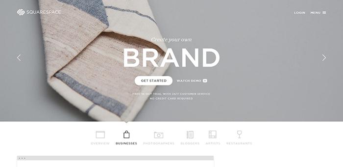 Square Space - Contoh Desain Web Keren Landing Page