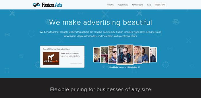 Fusionads - Contoh Desain Web Keren Landing Page