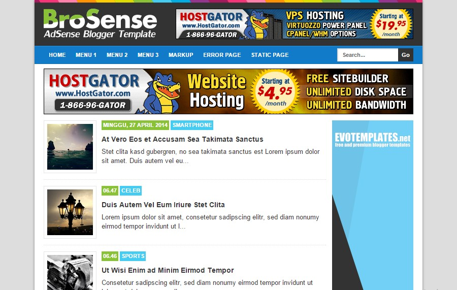 Brosense Blogger Template