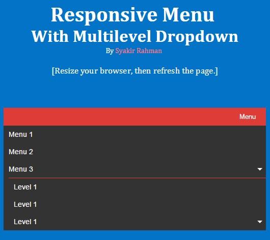 Responsive multilevel dropdown menu