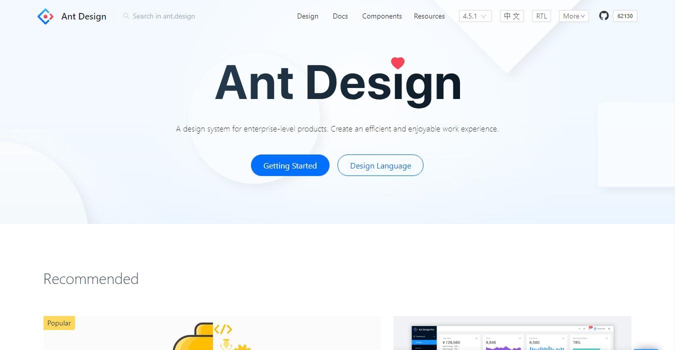 Ant Design - Wolrd's second react ui framework