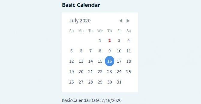 Basic calendar daypicker
